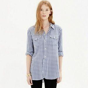 Madewell Blue Gingham Plaid Shirt Button Down L